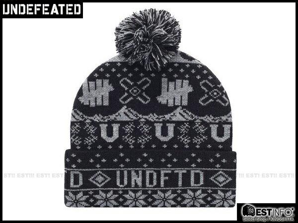 【EST】UNDEFEATED 2013 FW HOLIDAY ASCEDER POM-POM 民族 雪花 反折 針織 毛帽 [UF-4025] 黑/紅/深藍 E0114 1