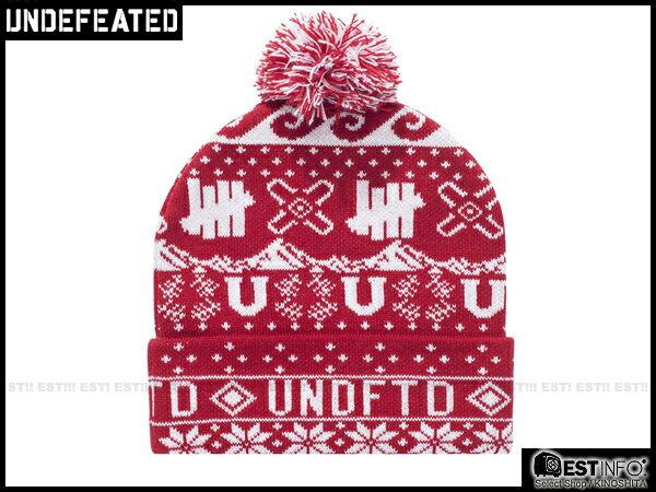 【EST】UNDEFEATED 2013 FW HOLIDAY ASCEDER POM-POM 民族 雪花 反折 針織 毛帽 [UF-4025] 黑/紅/深藍 E0114 2
