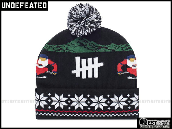 【EST】UNDEFEATED 2013 FW HOLIDAY SLALOM POM-POM 民族 雪花 反折 針織 毛帽 [UF-4026] 黑/灰/紅/深藍 E0114 0