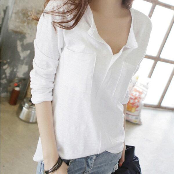 糖衣子輕鬆購【GH3360】韓版時尚百搭寬鬆竹節棉長袖T恤上衣