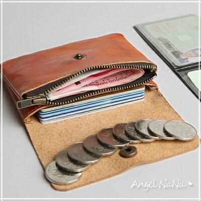AngelNaNa:真皮零錢包-簡約復古風植鞣皮頭層牛皮多功能收納包短夾AngelNaNa【MA0232】
