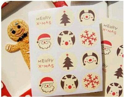 =優生活=「聖誕優惠買一送一」聖誕六元素米色烘焙包裝貼聖誕雪花麋鹿聖誕樹老公公 merry x'mas 封口貼 裝飾貼12枚