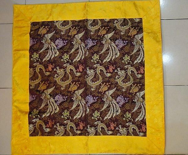 尼泊爾龍鳳呈祥方型桌墊巾90*90cm