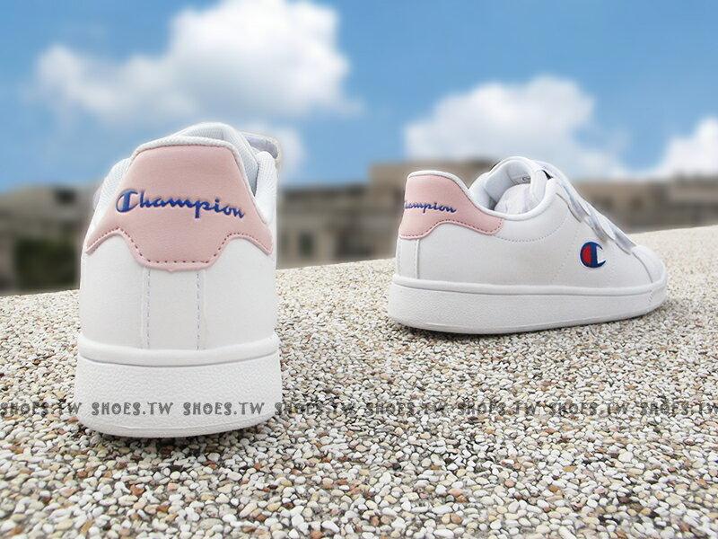 《7折回饋》Shoestw【811220106】CHAMPION 休閒鞋 魔鬼氈 黏帶 皮革 白粉紅 女生尺寸 2