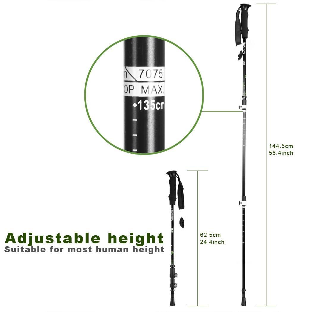 2Pcs Aluminum Alloy 3 Part Extension Adjustable Trekking Hiking Mountain Sticks Pole 2