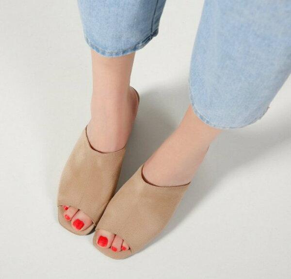 Pyf♥歐美街拍簡約慵懶休閒性感百搭寬款一字修長腿型露趾粗跟拖鞋44大尺碼女鞋