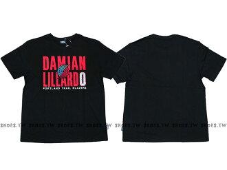 Shoestw【8730260-027】NBA T恤 棉 波特蘭 拓荒者隊 DAMIAN LILLARD 0 名字 黑色