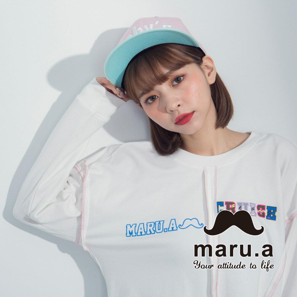 【maru.a】文字印花不對稱撞色車線T-Shirt  8321225 4