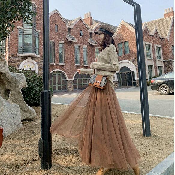 半身裙秋冬女a字裙中長版新款網紗裙超火仙女裙八米大擺長裙