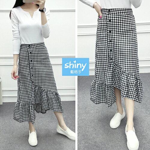 【V2299】shiny藍格子-復古漫舞.黑白格高腰不規則中長裙
