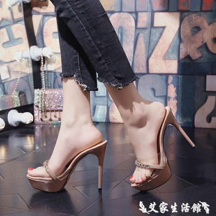 高跟拖鞋 超高跟涼拖恨天高女夏拖鞋外穿時尚性感走秀12cm細跟防水臺一字拖 果果輕時尚
