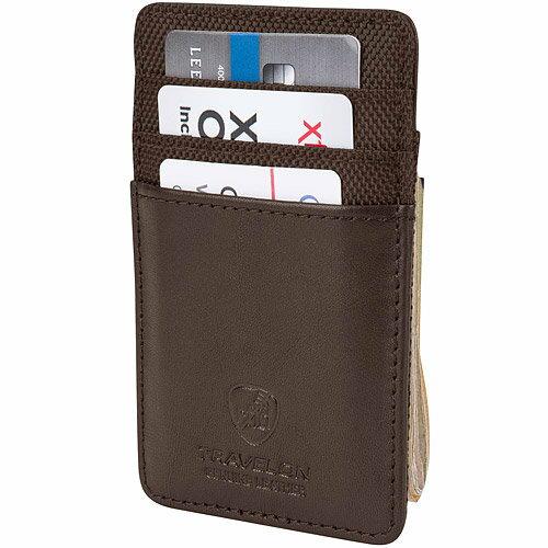 《TRAVELON》RFID網拼防護證件鈔票夾(咖)