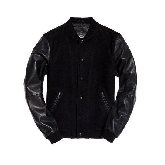 跩狗嚴選 正品 極度乾燥 Superdry Varsity 黑色 皮衣 外套 真皮 棒球夾克 69%羊毛 拼接皮袖