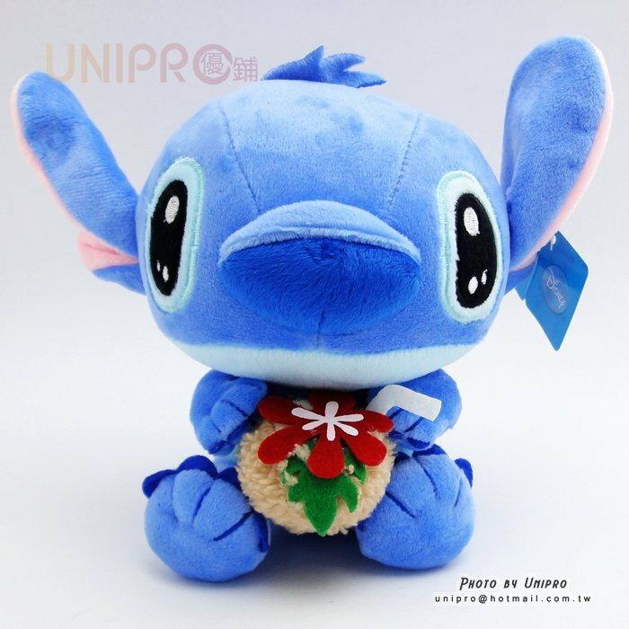 【UNIPRO】迪士尼 史迪奇 Disney Stitch 18公分 抱椰子 喝椰子水 絨毛玩偶 布偶 娃娃 禮物