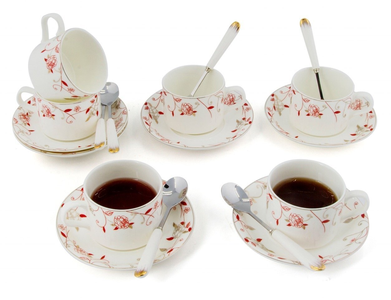 Porcelain Tea Cup And Saucer Coffee Set With Spoon 18 Pc