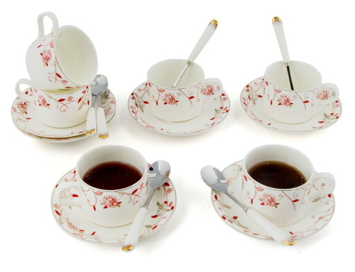 Porcelain Tea Cup and Saucer Coffee Cup Set with Saucer and Spoon 18 pc, Set of 6 TC-ZSMG 079ed409fcd9b65e5aa215a6cff4027a