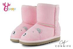 CONNIFE 雪靴 兒童靴 中小童 慵懶熊先生 日韓系 N8041#粉紅◆OSOME奧森鞋業