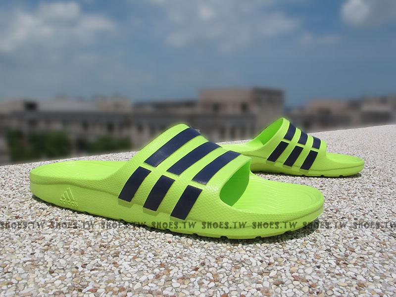 Shoestw【B23231】ADIDAS DURAMO SLIDE 拖鞋 一體成型 螢光綠 男女都有