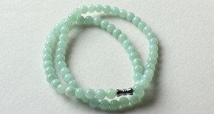 玉石玉器翡翠玉珠項鏈女款翡翠淺綠圓珠子特價