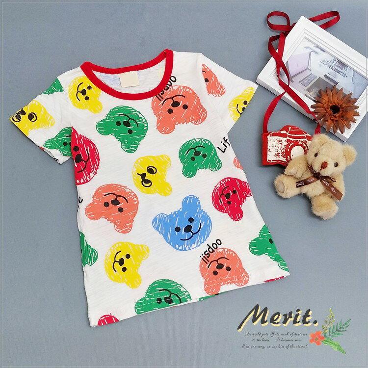 彩色小熊軟糖短袖上衣 繽紛 可愛 男童 女童 童裝 T恤 短袖 T-SHIRT 夏天 棉質 卡通 糖果 軟糖 小熊 彩虹