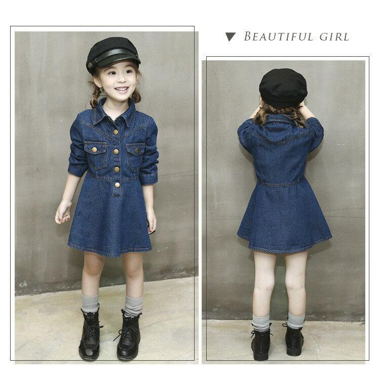 日系排釦牛仔長袖洋裝  長版 長袖 洋裝 牛仔裙 氣質 女童  中大童 ~Merit 哎北