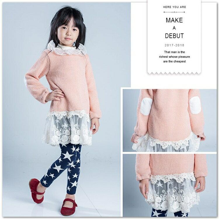 蕾絲雕花針織上衣 長袖 針織 毛衣 拼接 上衣 甜美 浪漫 圓領 韓版 童裝 女童 【Merit 哎北比童裝】