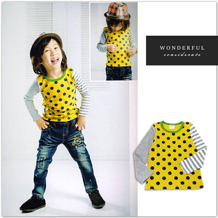 拼接黃色點點長袖上衣 秋冬新款 上衣 長袖 衛衣 美式 男童 星星 童裝 中大童【Merit 哎北比童裝】