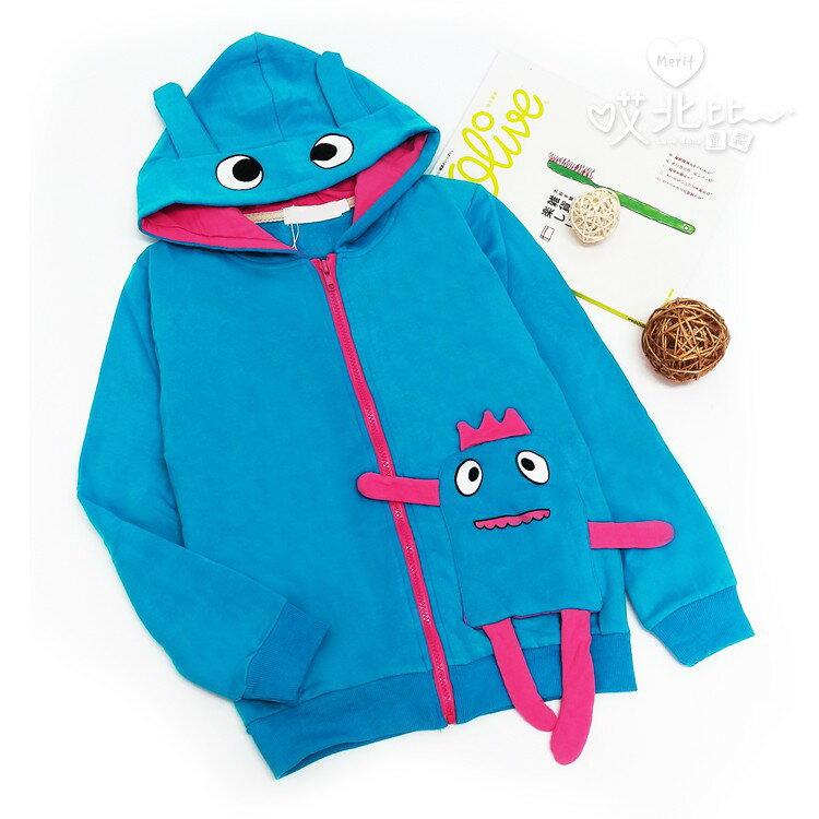俏皮小怪物連帽外套 可愛 眼睛 娃娃 休閒 日系 搞怪 原宿 似 a la sha 童裝 外套 棉質 冷氣房 哎北比童裝