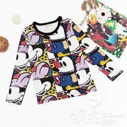 米奇漫畫卡通長袖上衣 棉質 上衣 秋冬新款 女童 T恤 可愛 現貨 卡通 滿版【Merit 哎北比童裝】