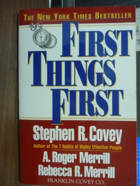 ~書寶 書T5/勵志_QGK~First Things First_Stephen R.C