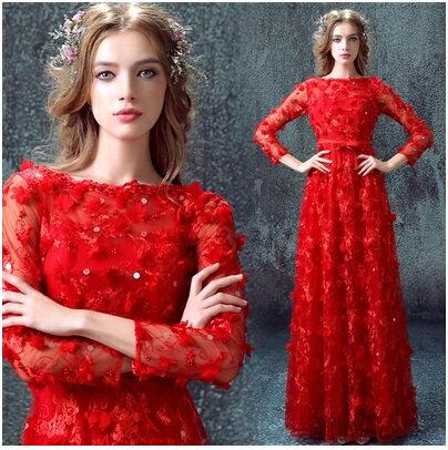 天使嫁衣~AE388~紅色滿版立體花片蕾絲袖長禮服˙ 訂製款