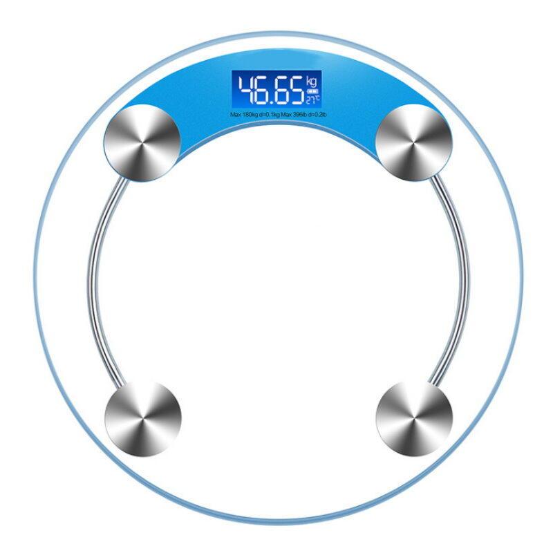 鋼化玻璃LCD電子體重計 超大面積33X33 背光螢幕人體秤 附溫度計+電量顯示 體重機 減肥健身【GF175】  123便利屋