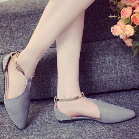 涼鞋 甜美側簍空金屬繫帶平底涼鞋【S1603】☆雙兒網☆ 2