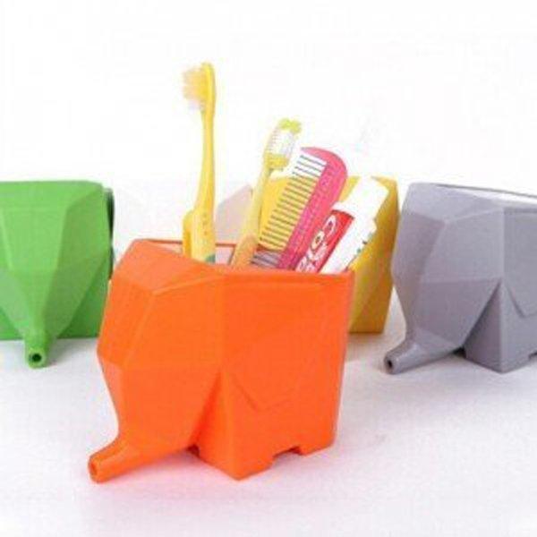 BO雜貨【SV9548】創意大象瀝水器 餐具收納盒 牙刷架 筆筒 盆栽 創意收納盒