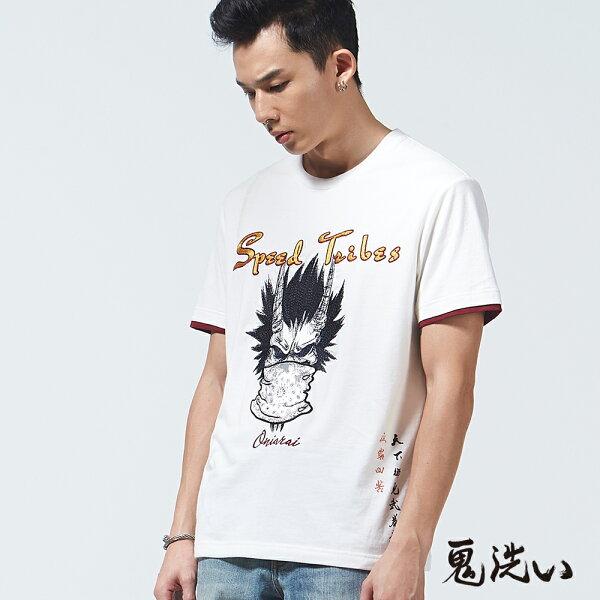 【限時5折】鬼洗武暴走印花短袖T恤(白)-BLUEWAYONIARAI鬼洗