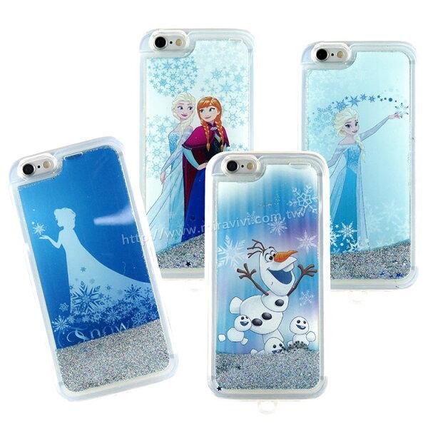 【Disney】iPhone66s彩繪冰雪奇緣流砂流水保護軟套