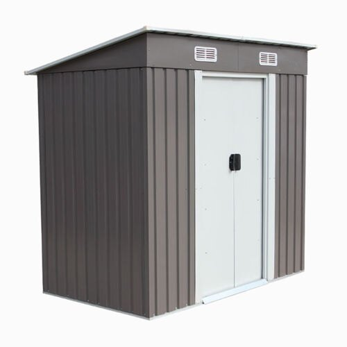 4x6 Feet Outdoor Steel Metal Garden Storage Shed Tool House W/ Sliding Door  0