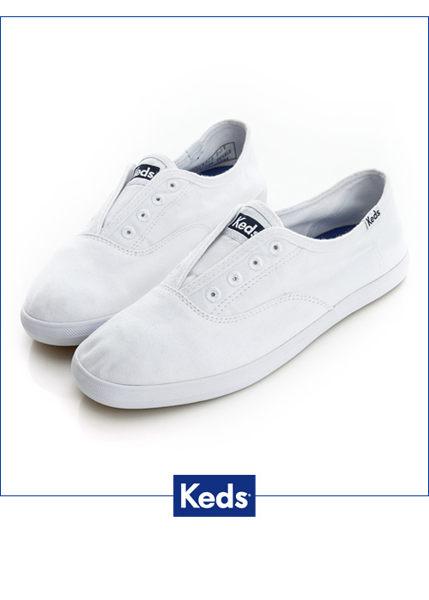 【KEDS 85折│全店免運│結帳輸入『fashion2228-2』滿$888現折$100】KEDS 水洗樂活帆布鞋(白) 白鞋│套入式│懶人鞋│平底鞋