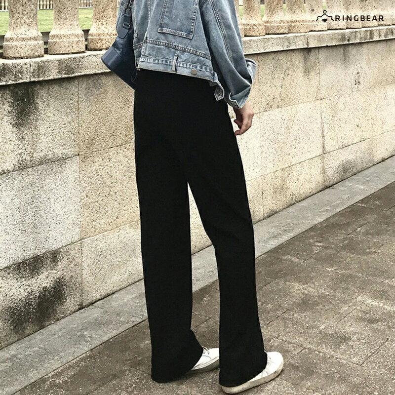 直筒褲--超顯瘦時尚優雅墬感寬鬆百搭鬆緊高腰直筒長褲(黑S-5L)-P146眼圈熊中大尺碼 5