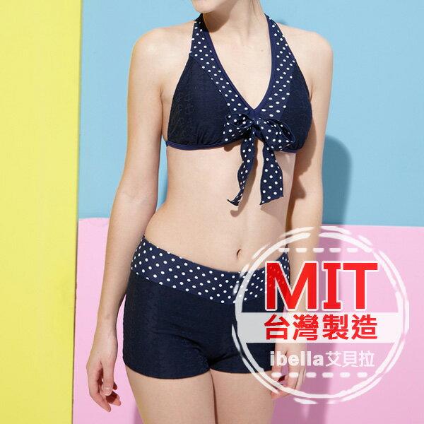 二件式泳裝 台灣製造MIT圓點蝴蝶結比基尼短褲二件式泳衣(附帽) 預購【36-66-84120】ibella 艾貝拉