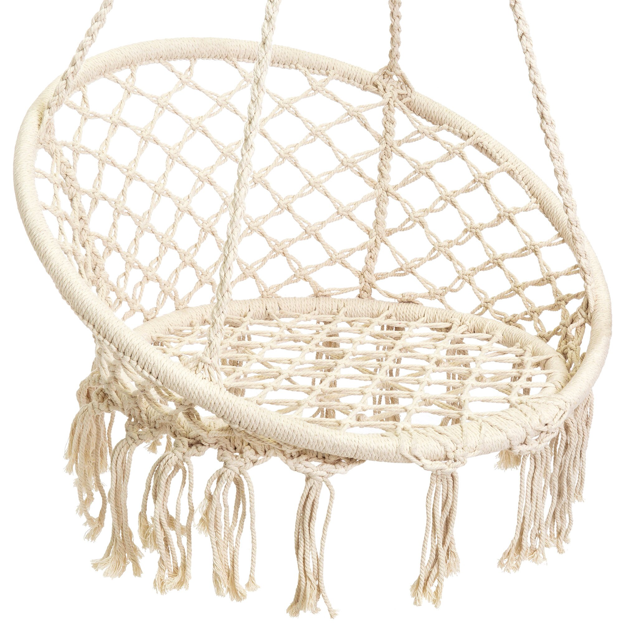 Best Choice Products Indoor/Outdoor Hanging Cotton Macrame Rope Hammock  Lounge Swing Chair W/
