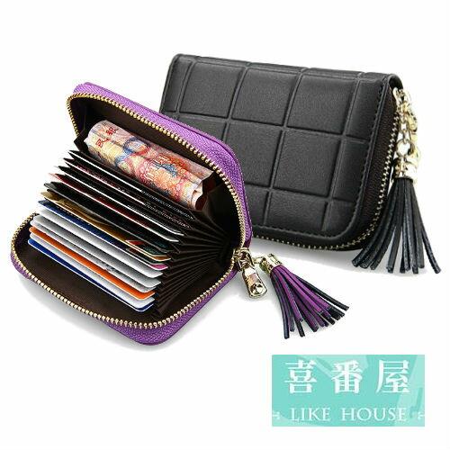 【喜番屋】日韓版真皮牛皮流蘇格紋15卡位卡片包卡片夾卡片套卡包卡夾卡套皮夾皮包錢夾零錢包男夾女夾CB114