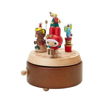 【真愛日本】16071900023木製音樂盒-MM-XMAS好友與禮物  三麗鷗家族 Melody 美樂蒂  音樂鈴  擺飾 收藏