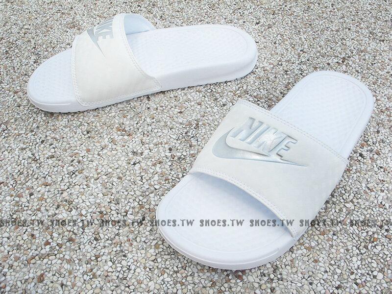 Shoestw【343881-102】NIKE WMNS BENASSI JDI 運動拖鞋 全白 菱格 男女生尺寸