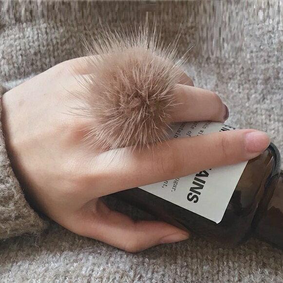 AngelNaNa:戒指-超濃密水貂毛毛可調式開口戒指一只【RA0075】