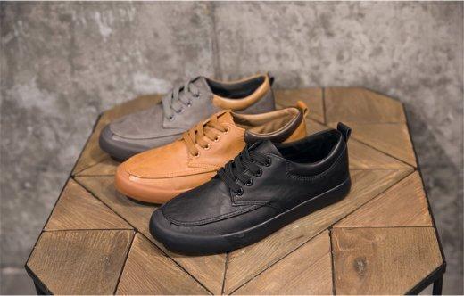 FINDSENSEZ1日系時尚潮流男士戶外綁帶純色休閒鞋板鞋低幫男鞋三色