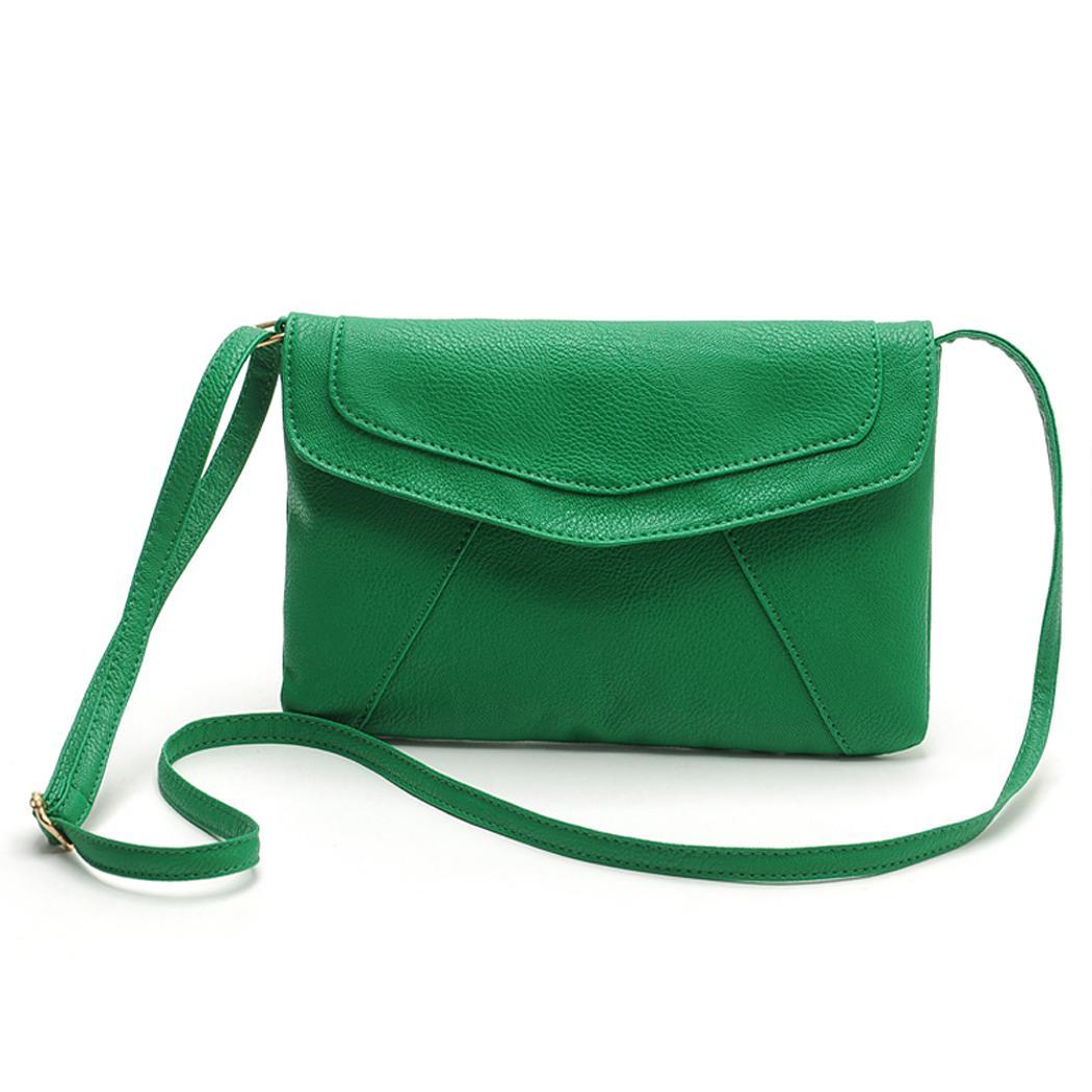 Ladies Leather Pure Color Hasp Closure Messenger shoulder Bag 1