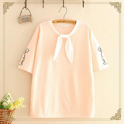 圓領刺繡兔子綁帶蝴蝶結T恤(3色F碼)【OREAD】 2