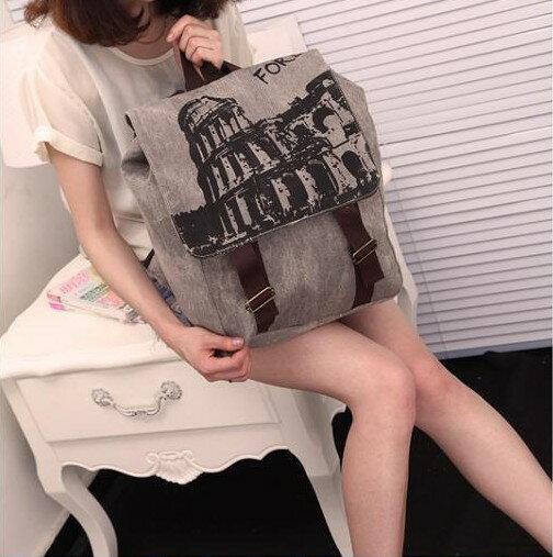 * Anne&Alice 包包購 *~韓系復古風咖啡色圖印帆布雙肩背包背包後背包~優惠特價中~*