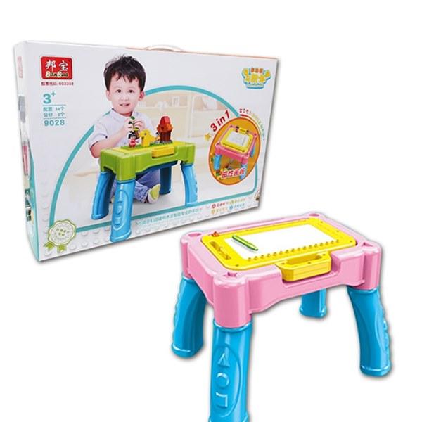 3in1多功能積木學習桌粉色【六甲媽咪】